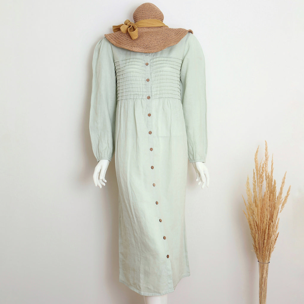 Pure linen  Sea Foam LS Maternity Dress-Shell Collection