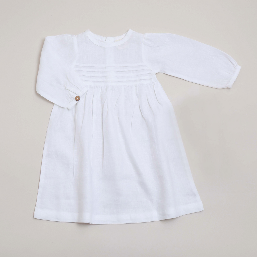 Pure linen Baby White Ls Dress -Shell Collection