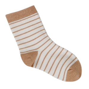Striped Organic Cotton Brown - Baby Socks