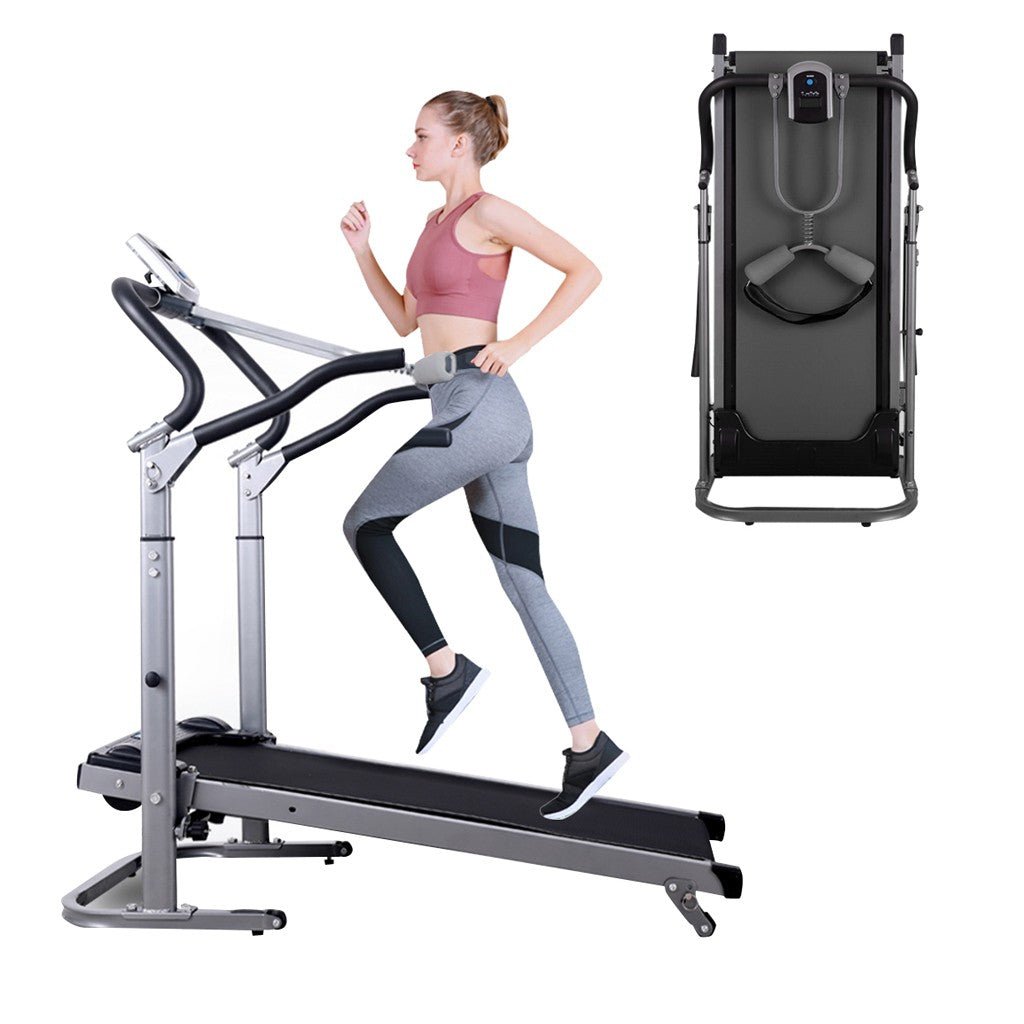 Multifunctional Long And Wide Shock-absorbing Mechanical Manual Treadmill