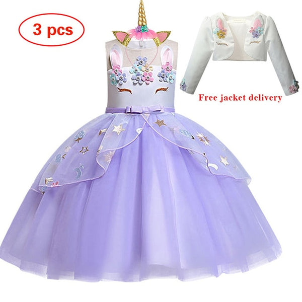Elsa Unicorn Embroidery Ball Gown, 10 styles, 3T - 7Y