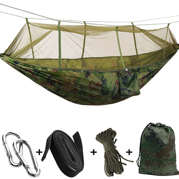 Ultralight Camping Beach Backpacking Swing Bed Hammock with Mosquito Net