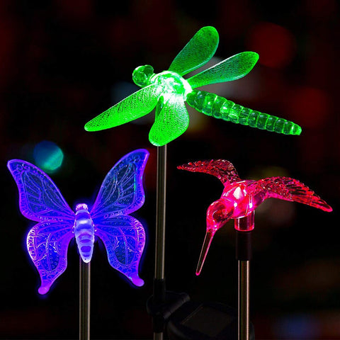 Multicolor led Solar Outdoor Dragonfly/Butterfly/Bird Lawn Landscape Pathway Lights