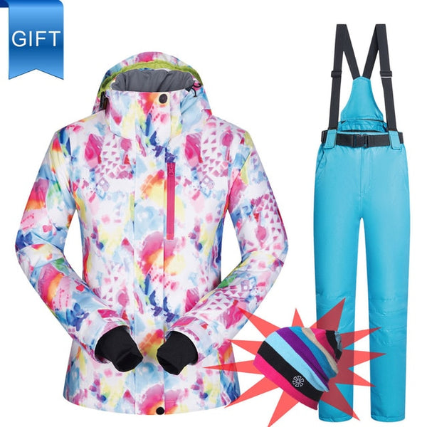 Windproof Waterproof Winter Ski Snow Suit Set Women