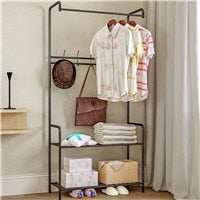 Simple Floor Standing Clothing Storage Shelfs and Clothes Hanger Rack