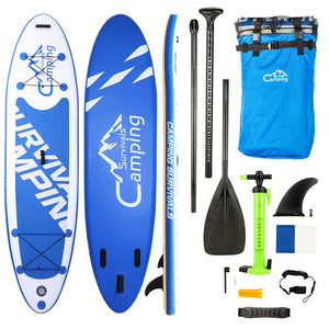 10' Adult Inflatable Stand Up Paddle Board Bundle with White & Blue Surf Control