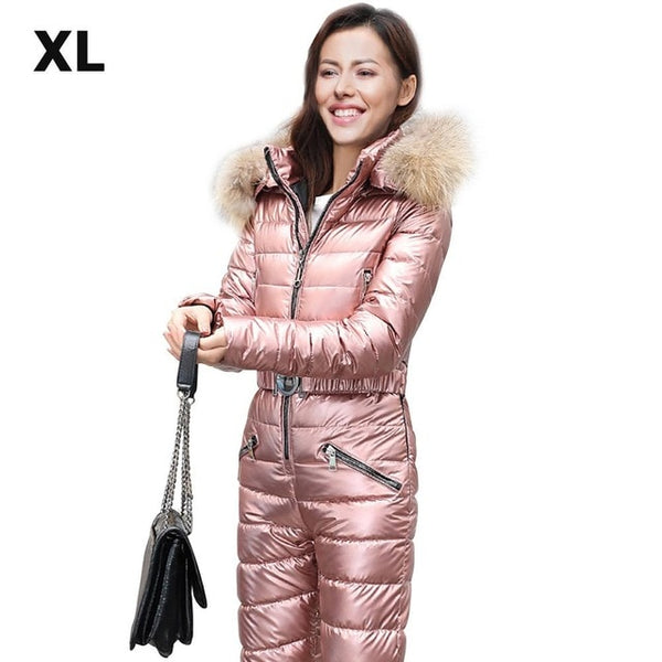 Winter Hooded Women Casual Ski Jumpsuits One Piece L-2XL