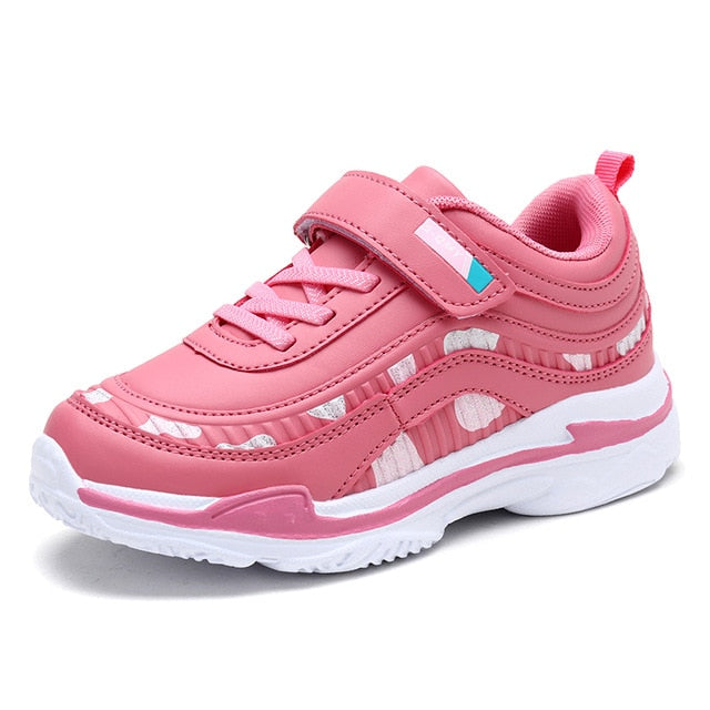 Girls Pink Purple Leather Sports Running Walking Tennis Shoes Toddler to Youth sizes