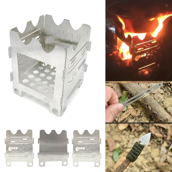Multifunctional Titanium Outdoor Ultralight Folding Wood Camping Stove