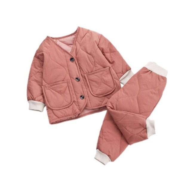 Winter Thicken Long Sleeve Coat Pants Baby Boys Girls