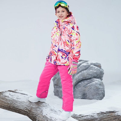 Kids Waterproof Winter Skiing And Snowboarding Jacket and Pant Set for Girls Child free shipping