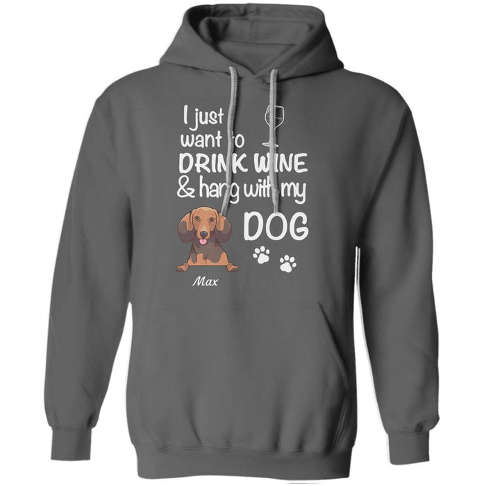"""Drink Wine And Hang With My Dog"" dog personalized T-Shirt"
