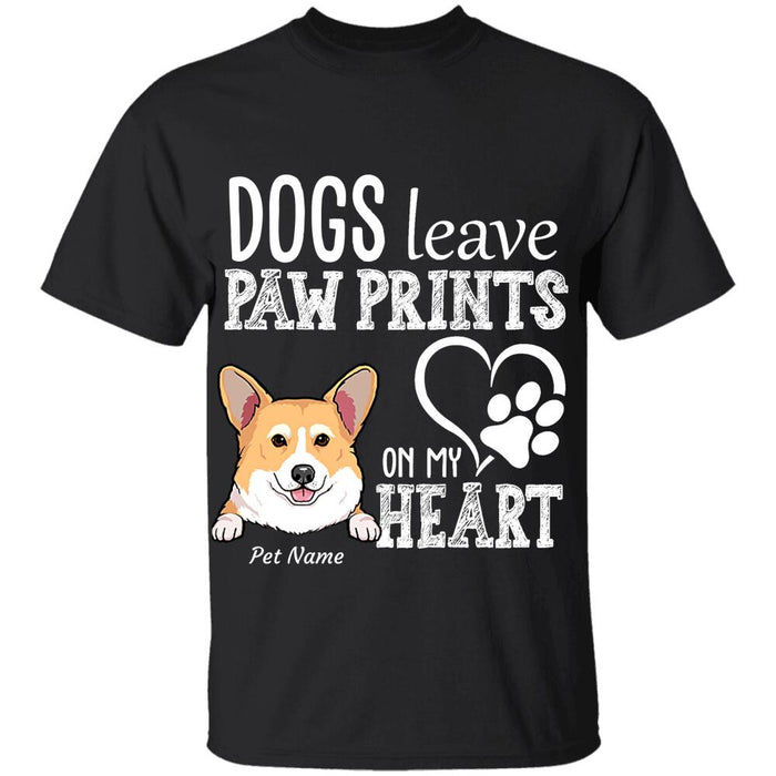 """Dogs leave paw prints on my heart"" personalized T-Shirt"
