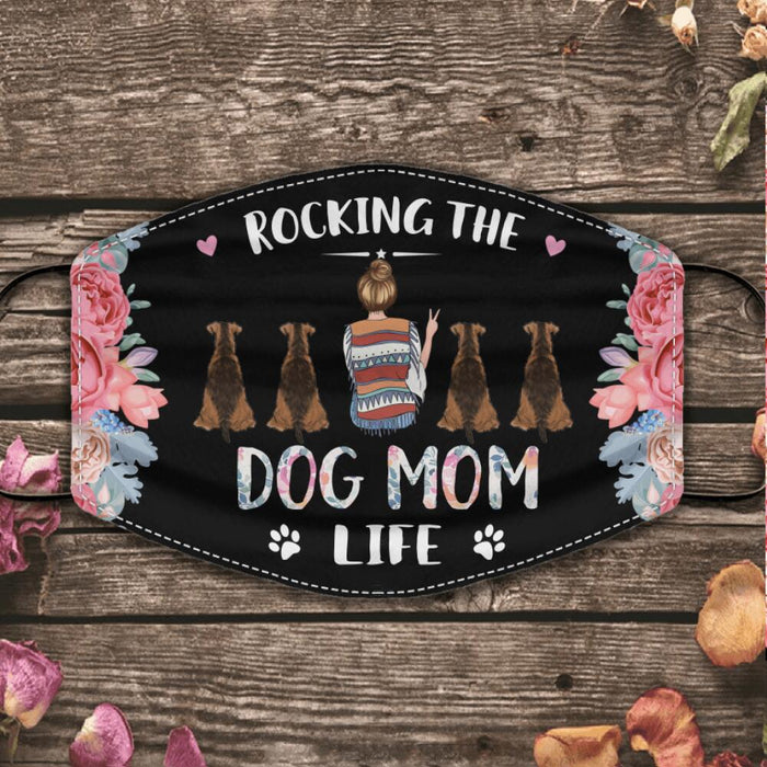"""Rocking The Dog Mom, Cat Mom Life"" girl, dog, cat  personalized cloth face mask"