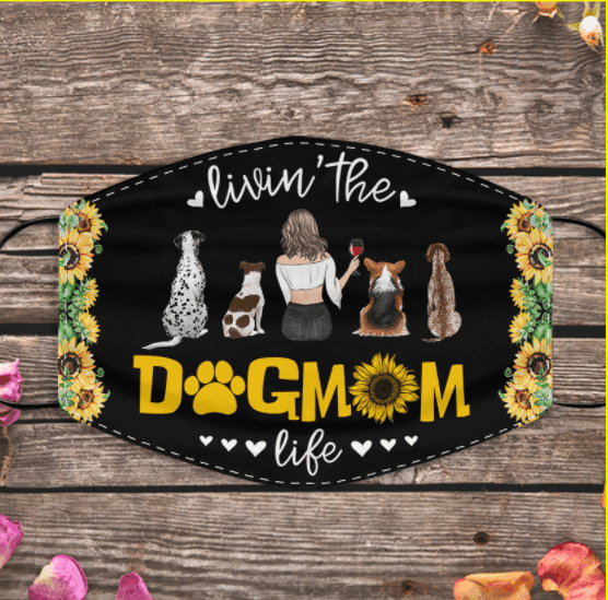 """Livin' the Dog/Cat Mom life"" girl dog, cat wine personalized cloth face mask"