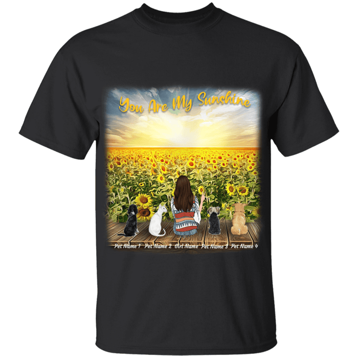 You Are My SunShine, Girl and Dogs/Cats on Sunflower Field personalize Tshirt, Pet Breed, Name, Body, Hair Style can be customized TS01