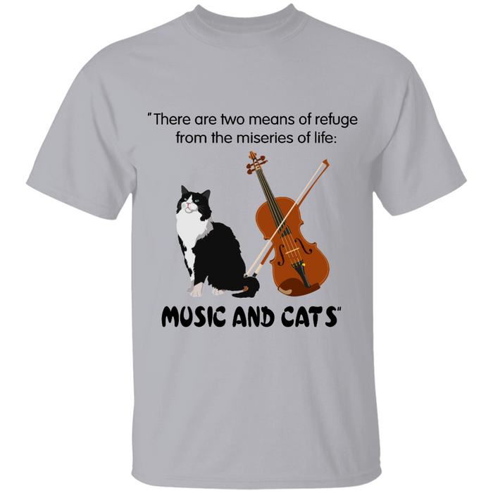 Two Means of Refuge From Miseries of Life: Violin & Cats personalized Shirt. TS237