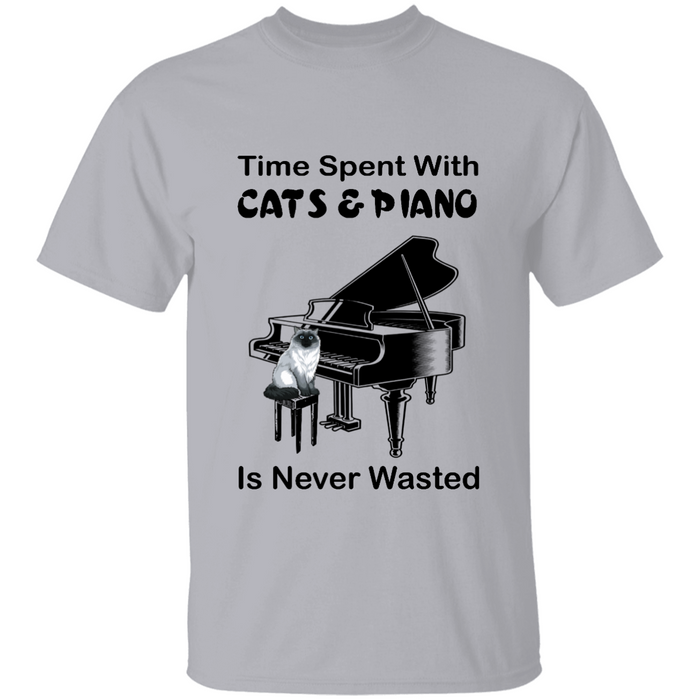 Time Spent With Cats & Piano is Never Wasted personalized Shirt. TS240