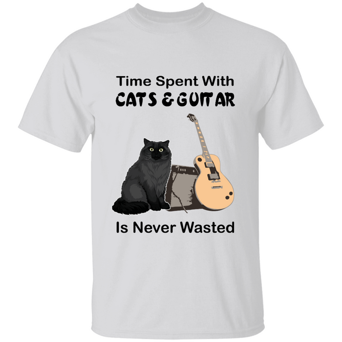 Time Spent With Cats & Guitar is Never Wasted personalized Shirt. TS241