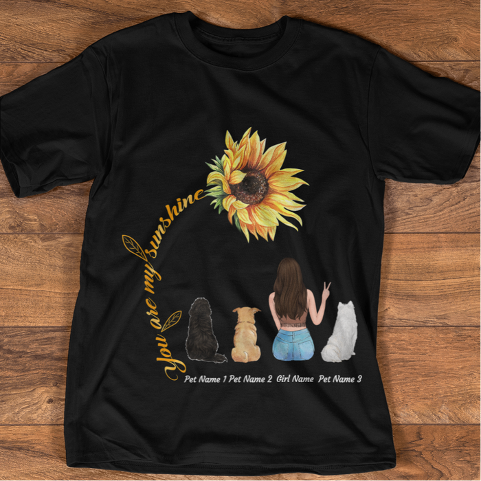 Sunflower and Pets, Personalized TShirt. Dog/Cat Breed, Name can be changed TS74*