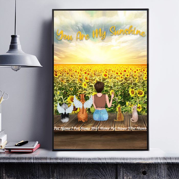 You are my Sunshine Sunflower Girl and Dogs personalized Canvas & Poster. CP02