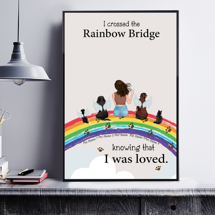 Rainbow Girl and Dogs Dogs personalized Canvas & Poster. CP14