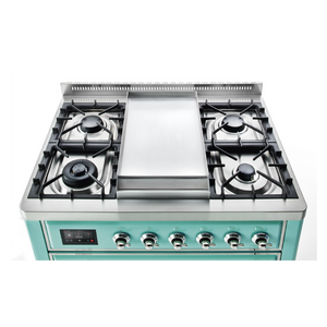 ILVE UK 2019 Majestic Milano Gas Hob and Fry Top Turquoise