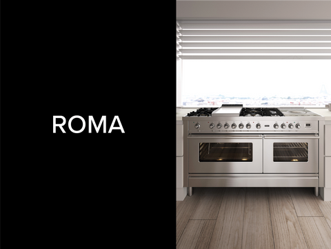 A contemporary range cooker finished in chrome.
