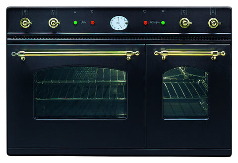 90cm Milano Twin Built-In Oven Black