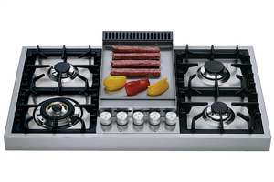 HAP95FC 90cm Roma Freestanding Gas Hob - 4 Burners and Fry Top
