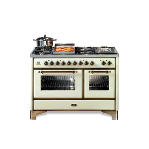 Majestic Milano 120cm 70 / 40 Twin Dual Fuel Range Cooker Cream