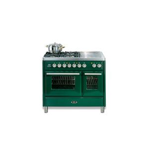 100cm Twin Dual Fuel Range Cooker Green