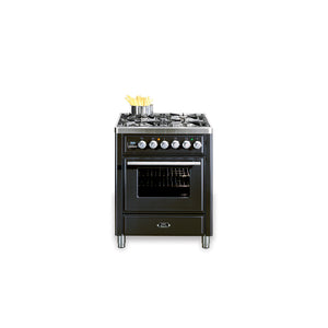 70cm Single Dual Fuel Range Cooker Matt Black
