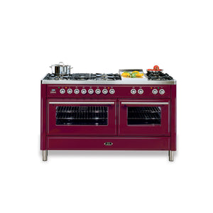 150cm Twin Dual Fuel Range Cooker Burgundy