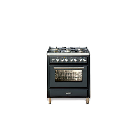 76cm Single Dual Fuel Range Cooker Matt Black
