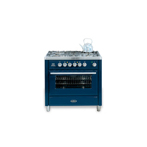 90cm Single Dual Fuel Range Cooker Blue