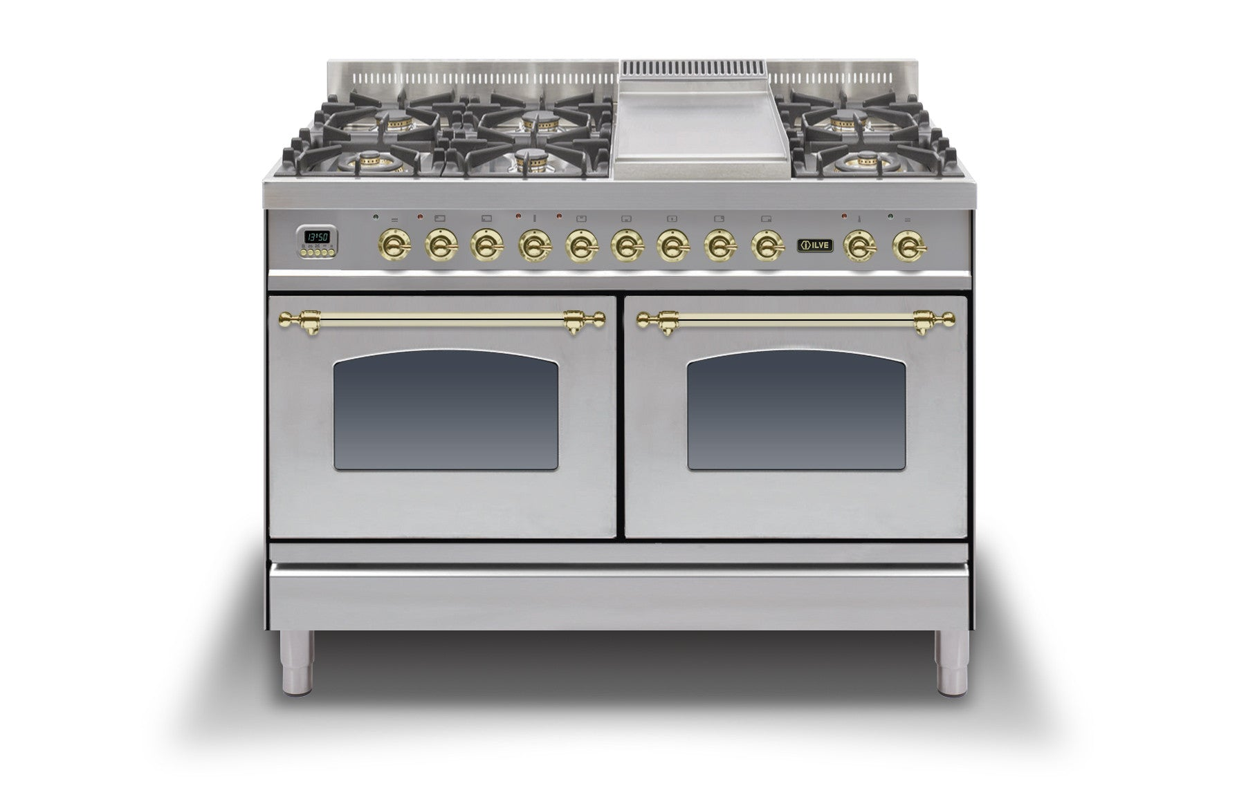120cm 60/60 Dual Fuel Range Cooker Stainless Steel Brass
