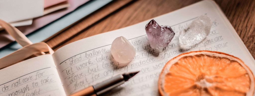 crystals and notebook