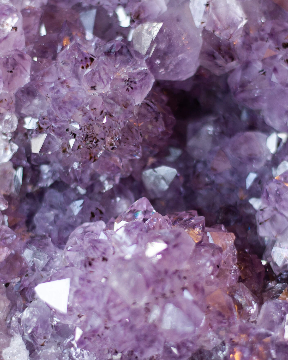 detail of purple amethyst crystal texture