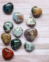 Polished ocean jasper heart-shaped crystals