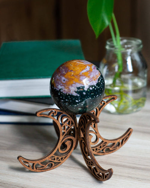 Wooden Moon Sphere Stand