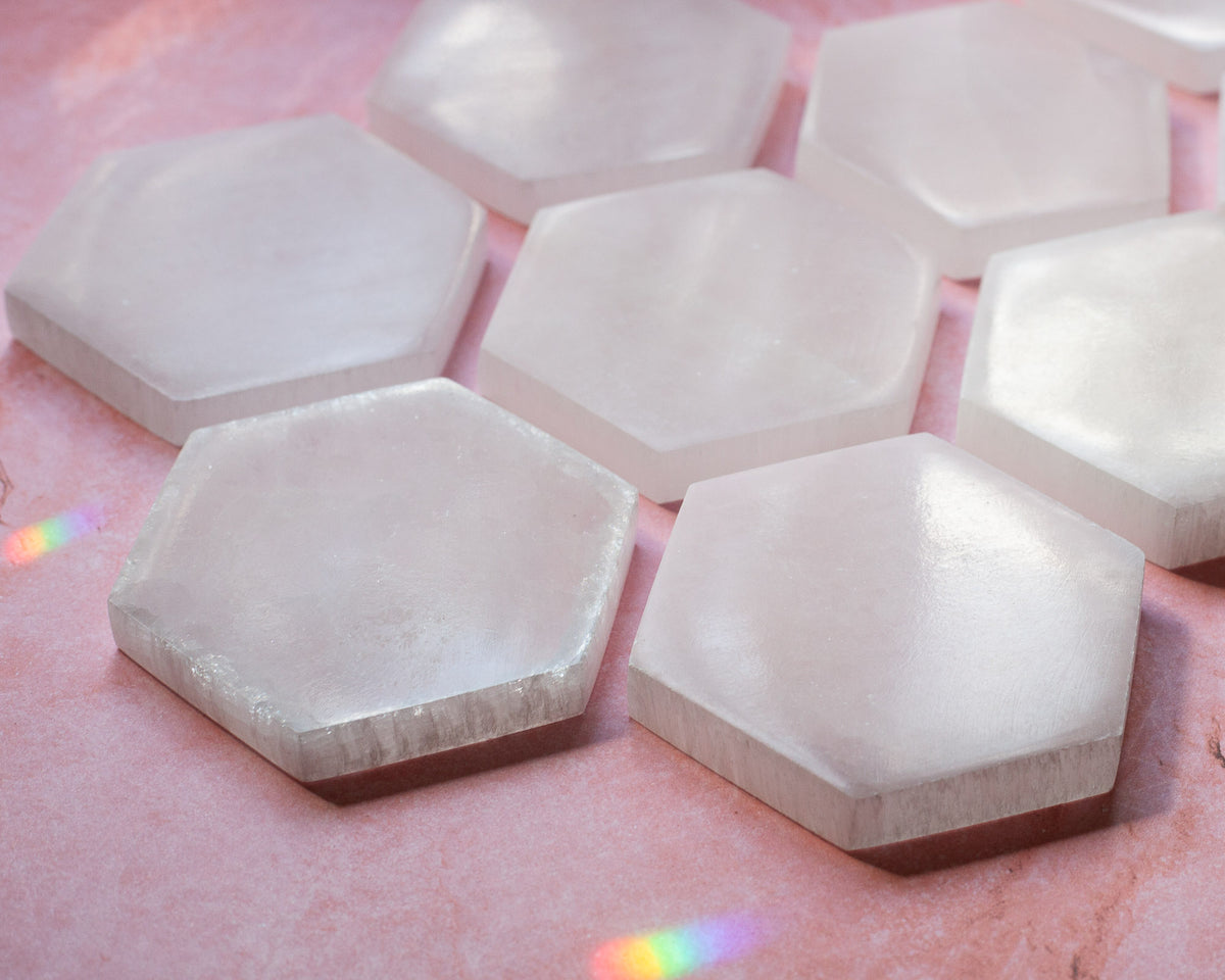 Hexagon Selenite Crystal Charging Plate