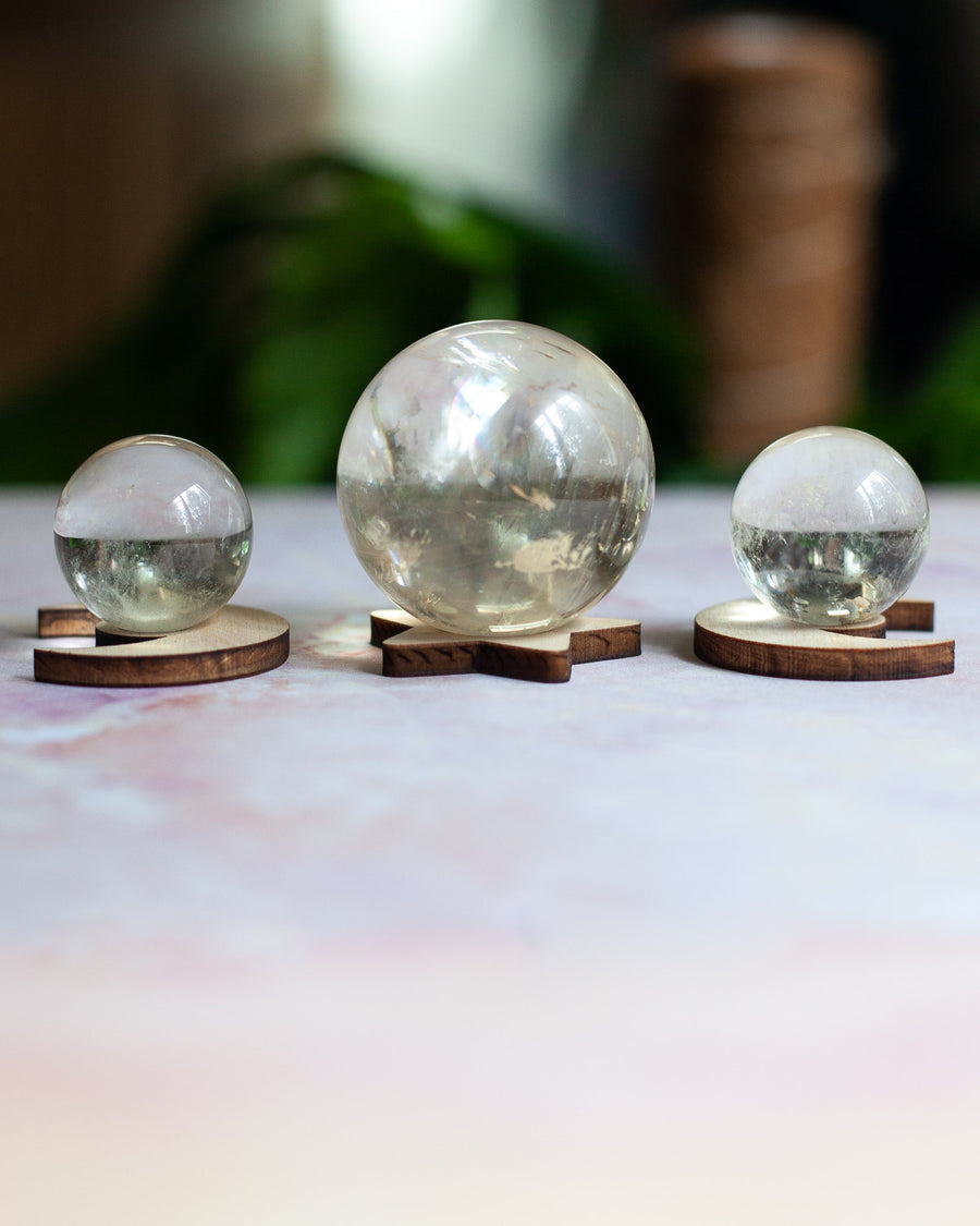 Set of 3 Star and Moon Sphere Stands