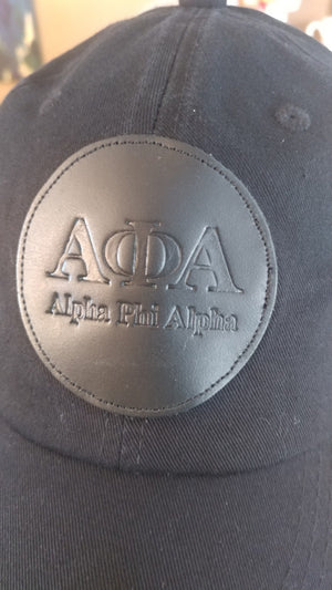 Black on Black Alpha Leather Patch Daddy Hat