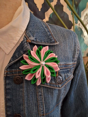 Pink & Green Satin Flower Brooch