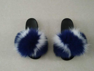 Blue and White Fox Fur Slippers