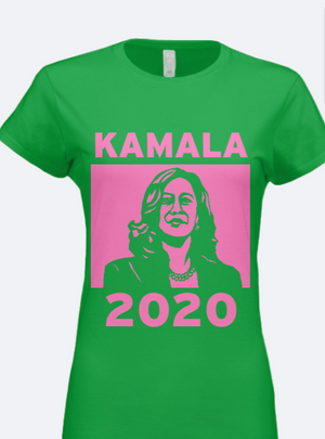 KAMALA 2020 Silhouette Pink and Green Tee