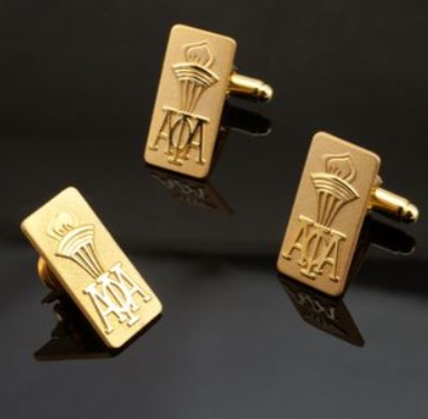 18K Gold Plated Torch Cufflink and Lapel Pin