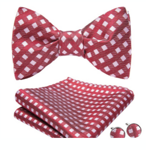 Red & White Diamond Bow-tie, Hanky and Cufflink Set