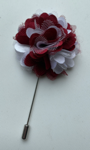 Crimson & Cream Floral Lapel Pin
